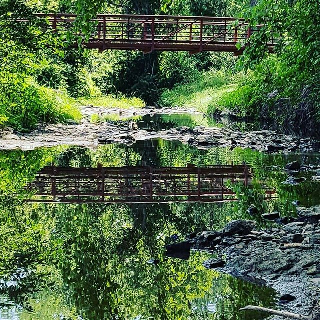 Cool picture of the new Buckeye Greenway Bridge as it reflects off the water by Tania Ohmstede. #Reflection #KCParks #WhereKCPlays