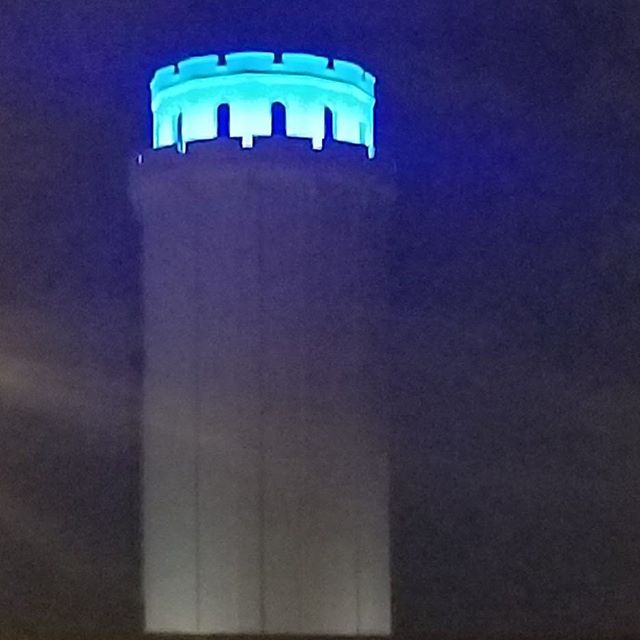 The top of the Waldo Water Tower in Tower Park is lit blue  to let police officers that were shot and their families know we are all thinking of them.