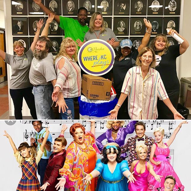 #KCParks employees joined with our Swope Park neighbors @kcstarlight and @kansascityzoo employees to participate in a Dignity Drive in conjunction with Starlight's production of #Hairspray. We overfilled our barrel with items for @givingthebasics!