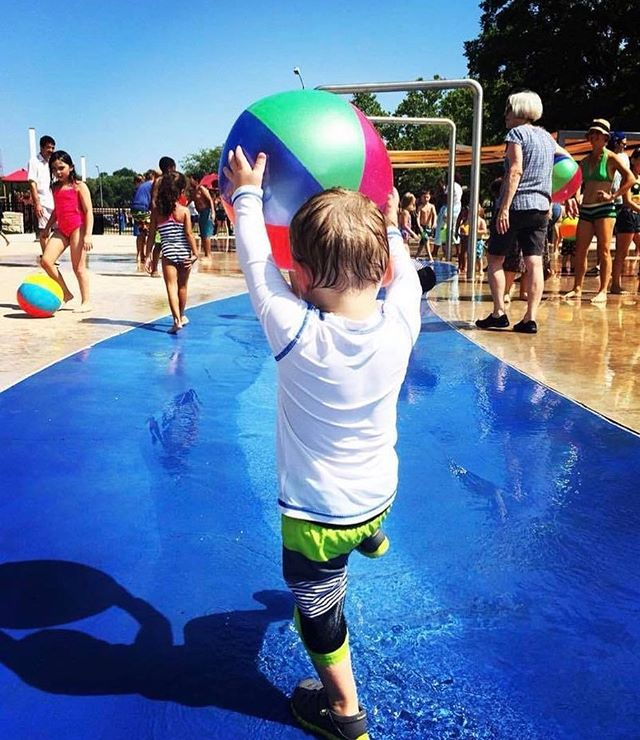 """Children need the freedom and time to play. Play is not a luxury. Play is a necessity."" #KayRedfieldJamison #KCParks #WhereKCPlays#ThrowbackThursday Photo via Lauren Hunt at Gillham Sprayground Opening. #TBT"