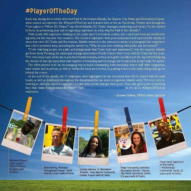 Our #KCParks #PlayerOfTheDay campaign is featured in the August 2018 issue of National Recreation and Park Association magazine! #WhereKCPlays  #KCParksProud #DiscoverJuly