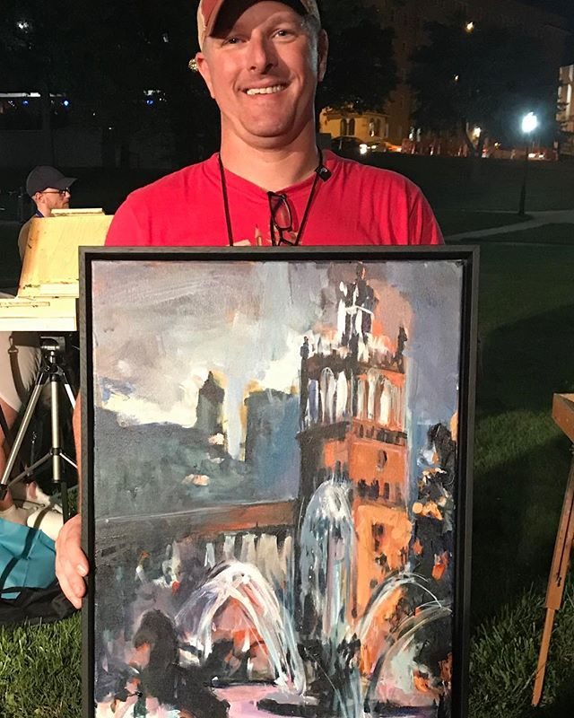 Nocturne Quick Paint on  @ThePlazaKC Winner @rickwrightart PleinAirKC #KCParks #WhereKCPlays #BCAW‬