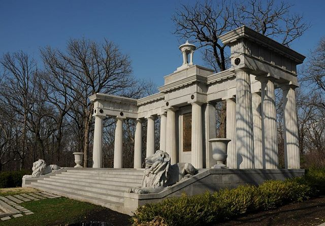 #OnThisDay in 1909 Col. Thomas Hunton Swope died. ..After his death, his body was kept in a holding vault until a memorial was built in Swope Park. A site was chosen on a hill overlooking the lagoon and the entire park. He was laid to rest at the memorial in 1918. The memorial appears to be based on a design drawn by George Kessler in 1915. The lions and decorative bronze were done by Charles Keck, the former president of the National Sculpture Society. #KCParks ..More at kcparks.org