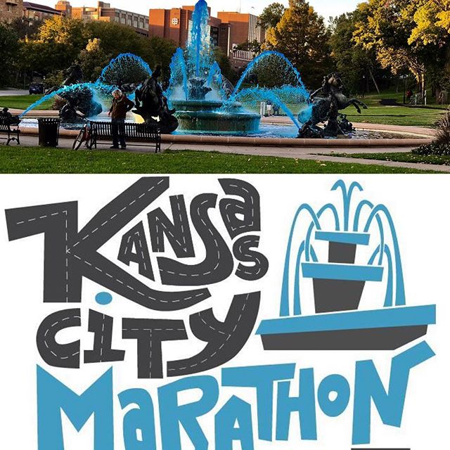 The JC Nichols Fountain is dyed electric blue in celebration of the Kansas City Marathon Good luck runners! #CityOfFountains #KCParks #wherekcplays