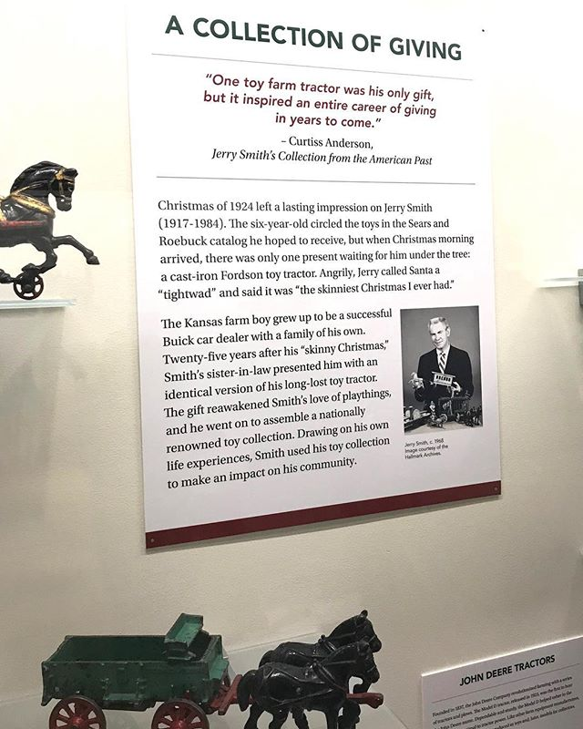 The namesake of Jerry Smith Park in South KC, a successful Kansas City automotive dealer and philanthropist, also owned a world-class toy collection that included planes, trains, and automobiles. The collection, Going Places, is currently displayed at The National Museum of Toys/Miniatures. #KCParks #wherekcplays