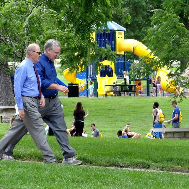 #ThrowbackThursday #KCParks Director Mark L. McHenry takes a walk in Loose Park to kick-off Governor Jay Nixon's 100 Missouri Miles initiative in June of 2013. *If you have a favorite photo of Mark, please send it to heidi.markle@kcmo.org. Thank you!*In honor of his retirement, we are showcasing photos of Mark taken during his 44+ years with KC Parks. Read more About Mark's Career & Memories at kcparks.org #TBT #WhereKCPlays #marksmemory