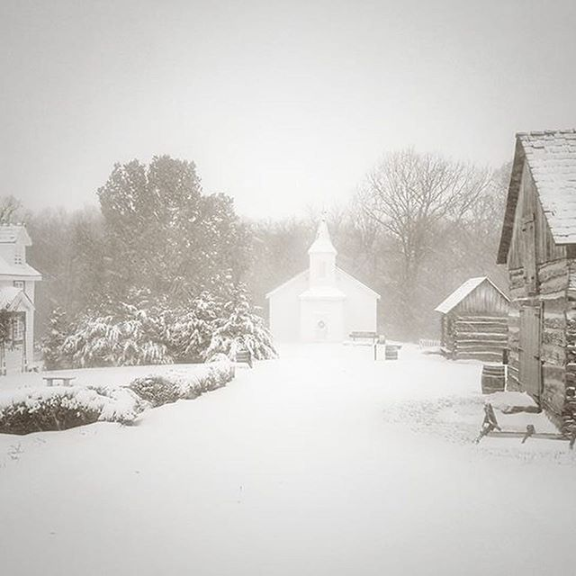 Snowy scenes from Shoal Creek Living History Museum in Hodge Park. #KCParks #Northland #Blizzard