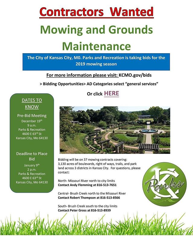 Come mow with us! #KCParks is currently accepting bids for mowing and grounds maintenance. #WhereKCPlays