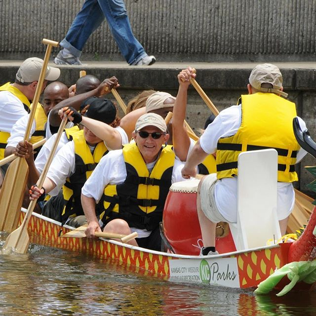 "#ThrowbackThursday #KCParks Director Mark L. McHenry leading the ""Blazing Paddles"" Dragon Boat Racing Team circa 2009.In honor of his retirement, we are showcasing photos of Mark taken during his 44+ years with KC Parks. Read more About Mark's Career & Memories at kcparks.org #TBT #WhereKCPlays #MarksMemory"