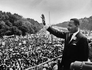 Martin Luther King Jr. addresses the crowd of about 200,000