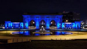 Kansas City Union Station in blue