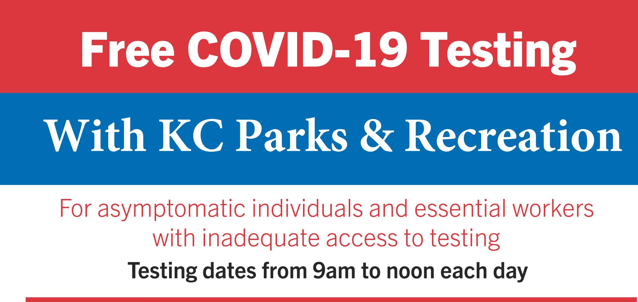 KC Parks Offers Free COVID-19 Testing